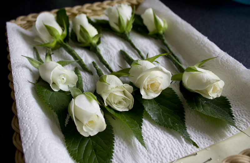 Wedding buttonholes with roses