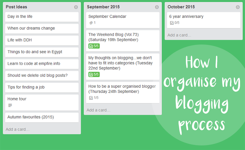 How I organise my blogging process