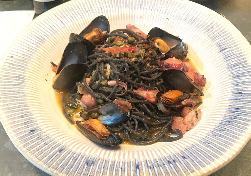 Jamie's Italian Liverpool - Squid and Mussel Spaghetti Nero