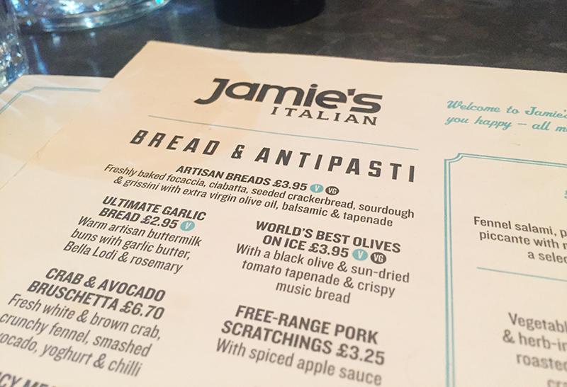 Jamie's Italian Liverpool - Menu