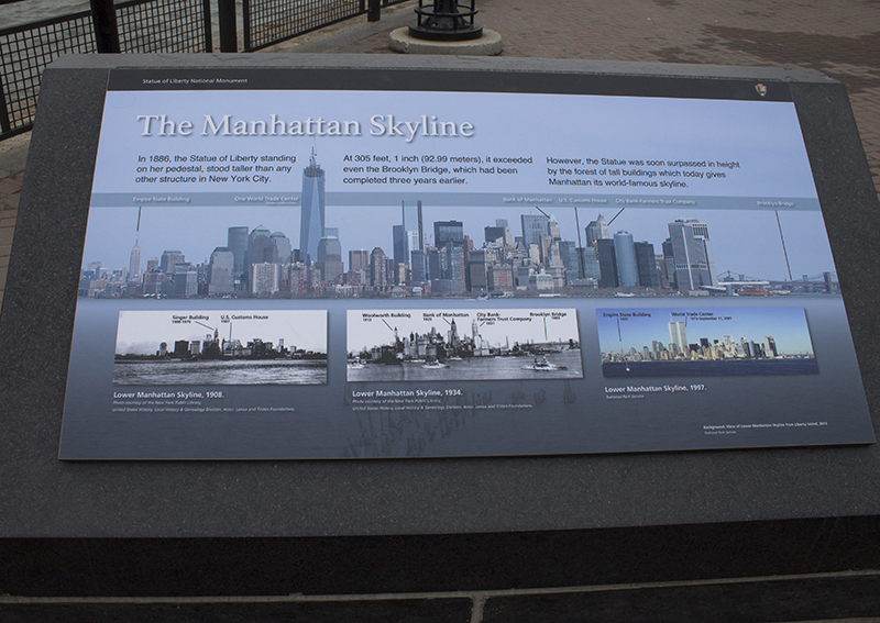 Manhattan skyline sign at Liberty Island
